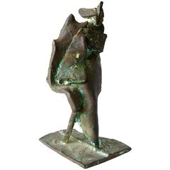 Robert A. Dhaemers Bronze Abstract  Caped Figure Sculpture