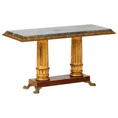 Pedestal Table of the Empire Style, Mahogany and Gilded Wood, Marble, Bronze