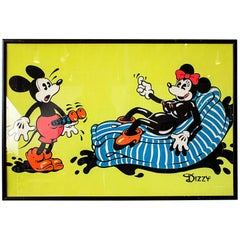 Vintage Mickey Mouse Black Light Print Signed, circa 1970