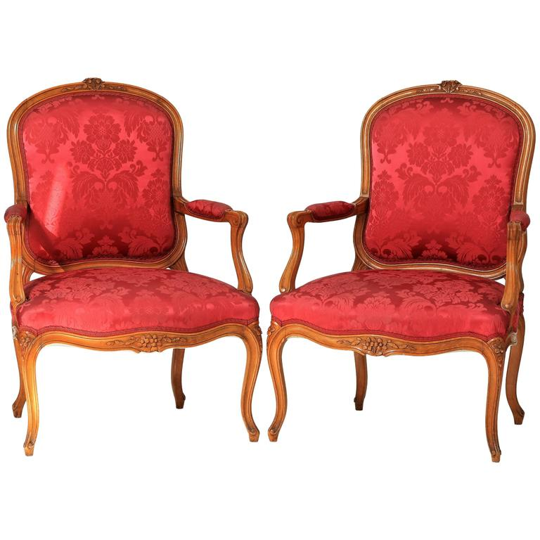 """Pair of Louis XV Style """"Cabriolet"""" Armchair, 19th Century"""