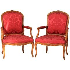 "Pair of Louis XV Style ""Cabriolet"" Armchair, 19th Century"
