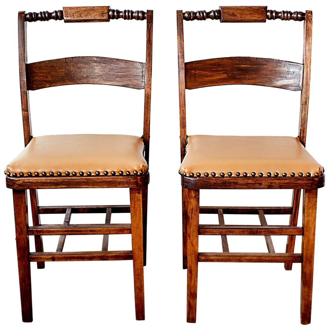 Set Of Two Antique Folding Wood Chairs, Circa 1930s For Sale