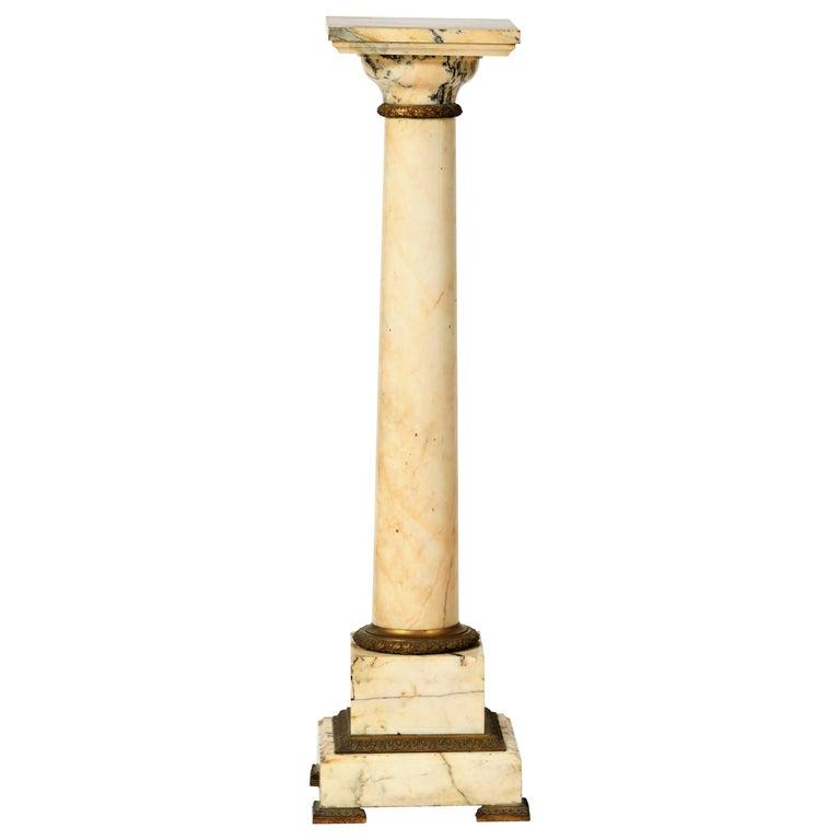19th Century Column Pedestal in Carrara Marble