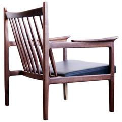 C10 Contemporary Handmade Upholstered Lounge Chair in Walnut and Leather