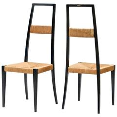 Italian Designed High Back Chairs in the Manner of Gio Ponti