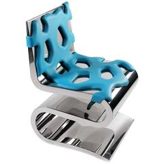 Chair Modern Blue Leather Steel Italian Limited Edition Design