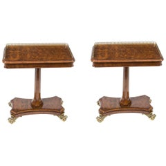 Pair of Regency Style Burr Walnut Occasional Tables