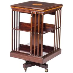 Early 20th Century Edwardian Inlaid Revolving Bookcase