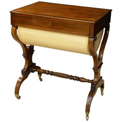 Fine English Regency mahogany Sewing Table crossbanded in rosewood c1810