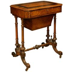 Victorian Walnut, Mahogany and Amboyna Sewing Table