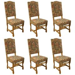 Set of Six French Upholstered 'Sheep Bone' Chairs