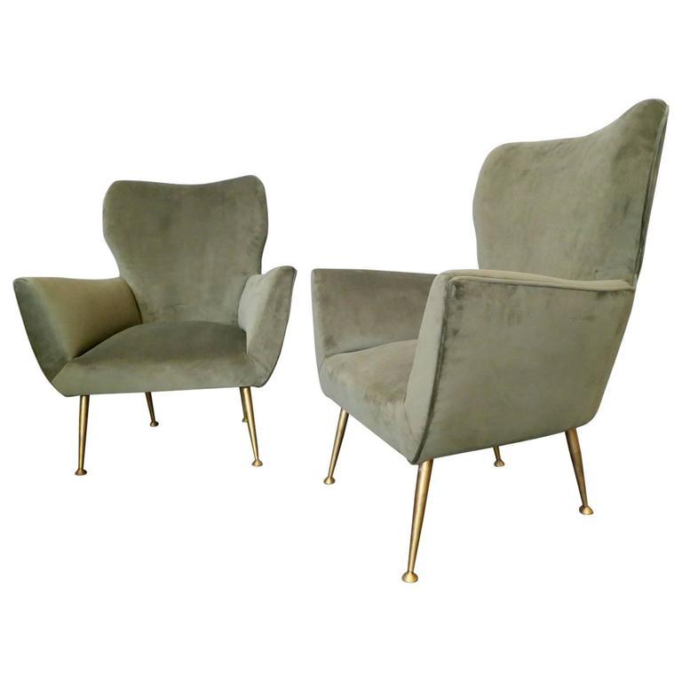 Pair of Mid-Century Italian Velvet Armchairs