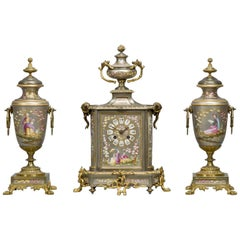 Napoléon III Gilt Bronze-Mounted Porcelain Clock Garniture