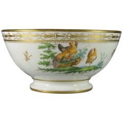 Old Brussels Porcelain Slop Bowl by Louis Cretté Manufacture, 19th Century