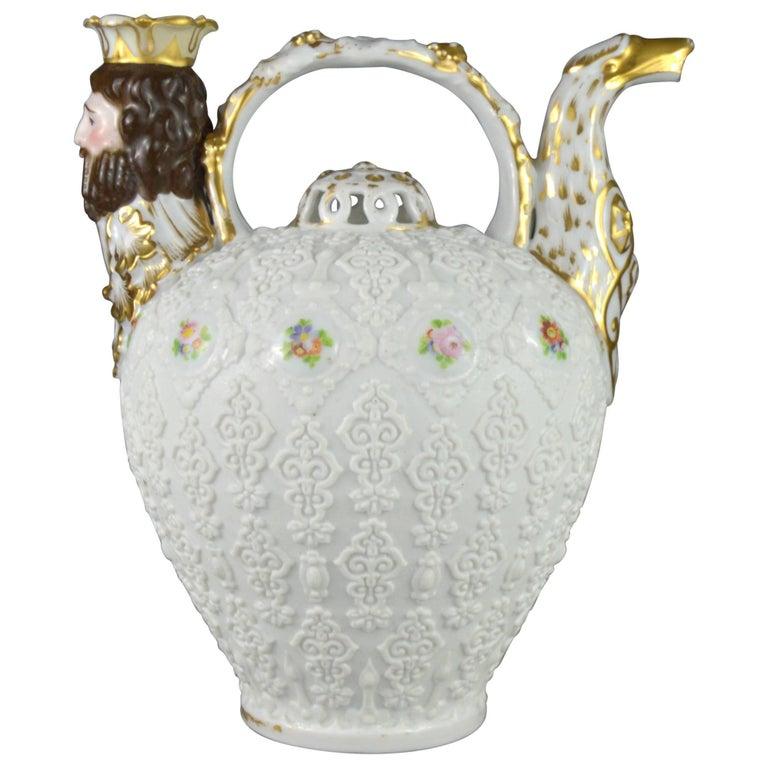 Rare Collectible Porcelain Pitcher, Paris Manufacturer Jacob Petit, 19th Century For Sale