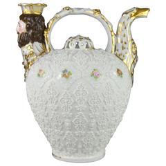Rare Collectible Porcelain Pitcher, Paris Manufacturer Jacob Petit, 19th Century