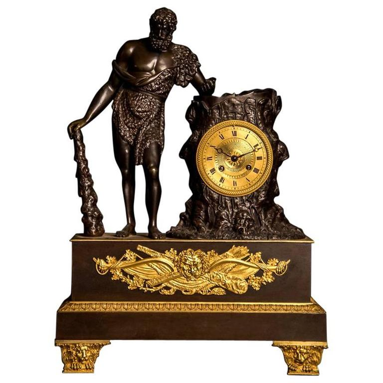 Labours of Hercules Large-Scale Empire Patinated Gilt Bronze Clock, 19th Century