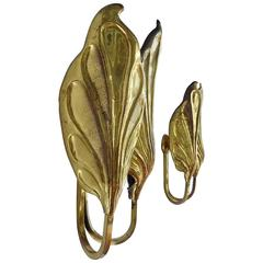Sculptural Pair of Italian Mid-Century Brass Leaf Sconces, Tommaso Barbi, 1970s