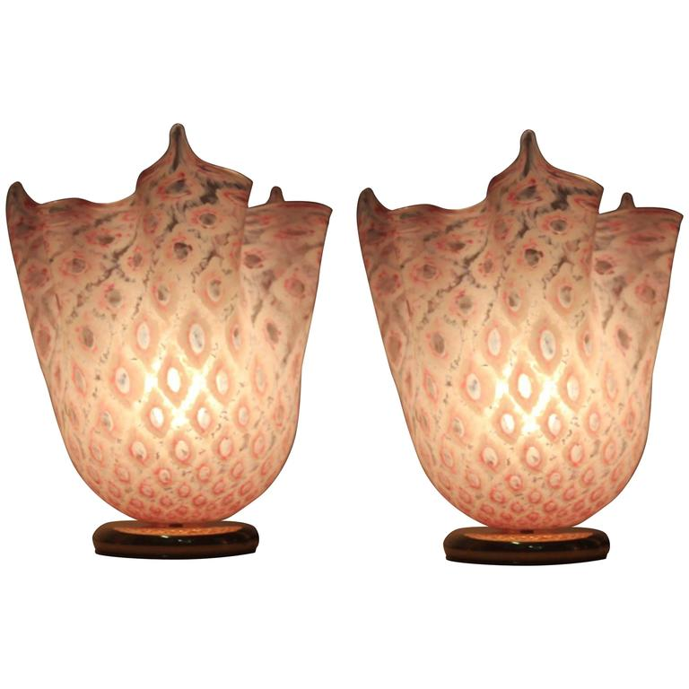Pair of Handkerchief Lamps Murano, 1970 VeArt For Sale