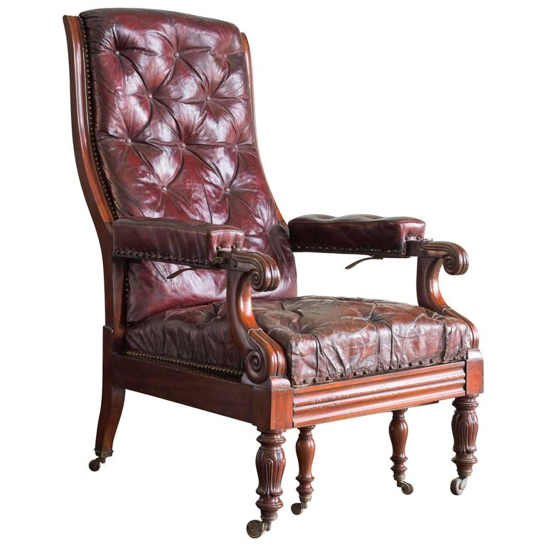 William IV Mahogany Reclining Reading Chair For Sale