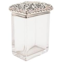 20th Century Edwardian Embossed Silver Topped Jar