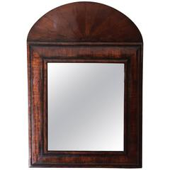 Queen Anne Walnut Cushion Mirror with Curved Pediment