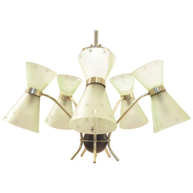 Mid-Century French Design, Diabolo Shaped Glass & Brass Chandelier Pendant Lamp