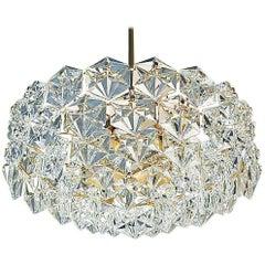 Extra Large Gilt Brass Metal Crystal Glass Five-Tier Chandelier by Kinkeldey