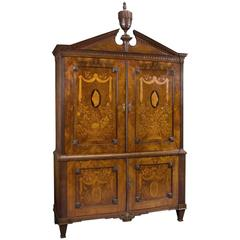 Neoclassical Mahogany Armoire with Floral Marquetry Inlay