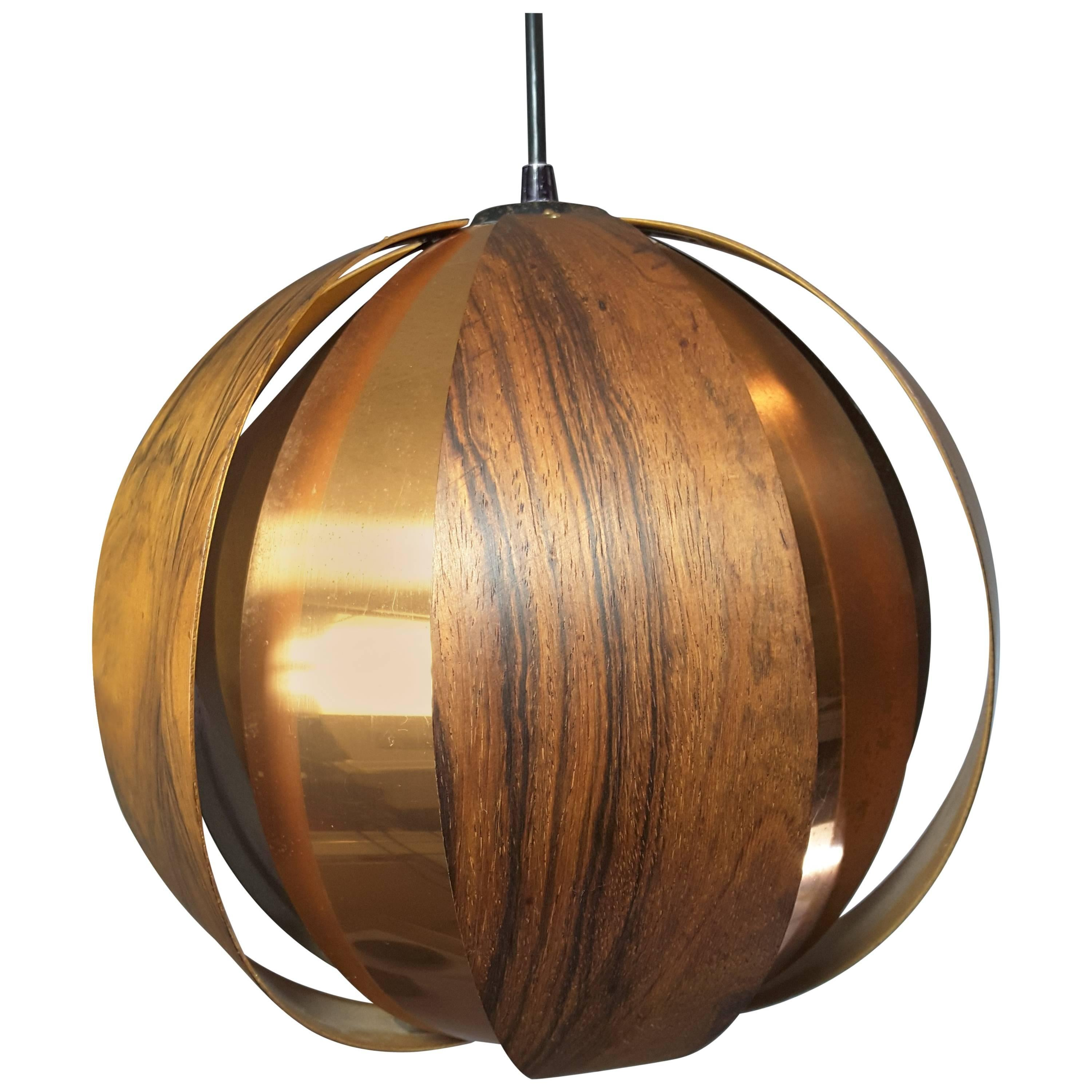 Rosewood and Copper Ball Pendant by Verner Schou, for Coronell  Elecktro, Danish
