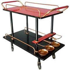 Bauhaus Bar Cart Serving Drinks Trolley Black Wood Red Formica Copper, 1930s