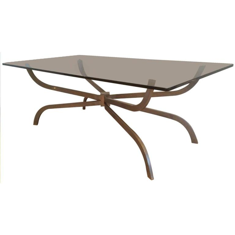 Mid-Century Modern Brushed Steel and Glass Coffee Table by Maison Charles
