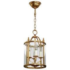 Signed Gilt Brass and Glass Lantern by Gaetano Sciolari Italian Empire Style