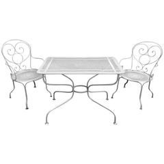 Charming French Wrought Iron Three-Piece Bistro Set