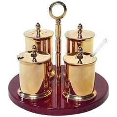 Rare Signed Gilt Aldo Tura Condiment Table Set Bar Ware Red Parchment Rosewood
