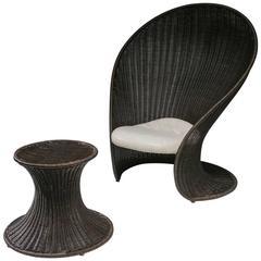 """Foglia"" Lounge Chair with Ottoman by Giovanni Travasa for Vittorio Bonacina"