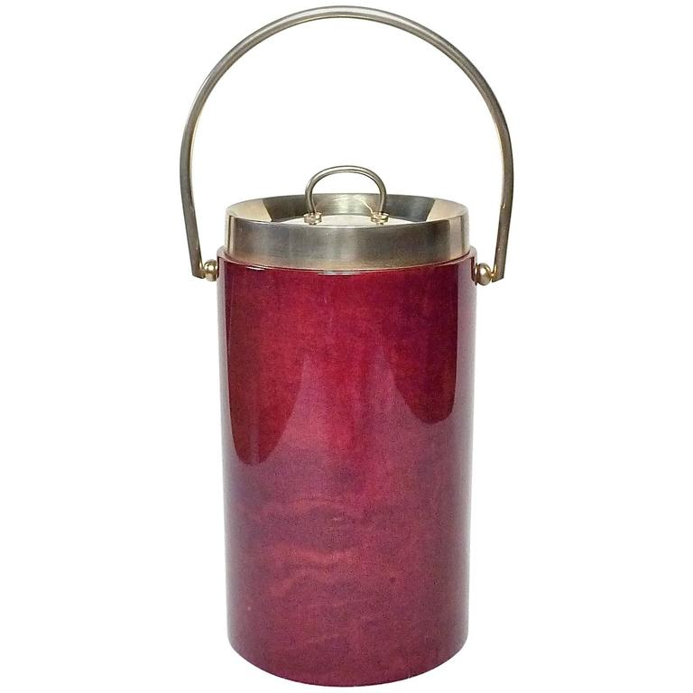 Large Mid-Century Red Goatskin Ice Bucket or Wine Cooler by Aldo Tura, 1960