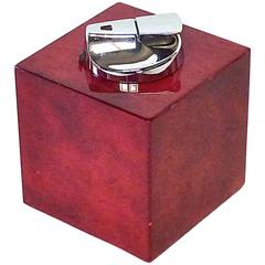 Luxus Vintage Table Lighter Light Red Parchment Chrome by Aldo Tura, Italy 1960s