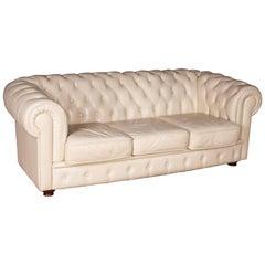 20th Century, Original English Chesterfield Sofa Genuine Leather Beige