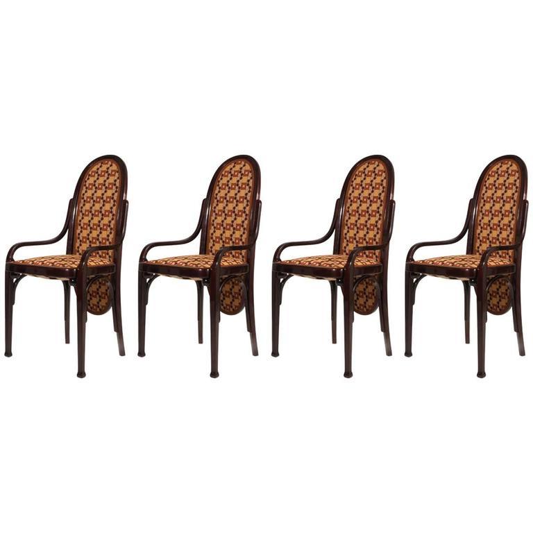 Four Art Nouveau Bentwood Chairs Thonet, Vienna, 1900
