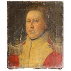 Continental Provincial School Oil on Canvas Portrait of Military Officer