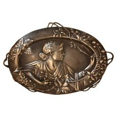 French Art Nouveau Silver Tray-Wall Plaque