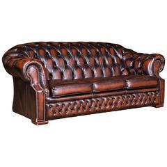 Original English Chesterfield Sofa Genuine Leather