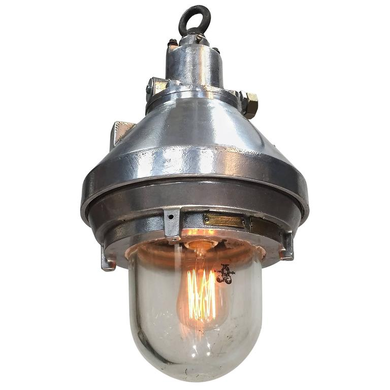 Late 20th Century Aluminium and Glass Explosion Proof Pendant E27 Edison Bulb For Sale