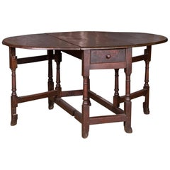 17th-18th Century, Original English Pembroke Folding Table Antique