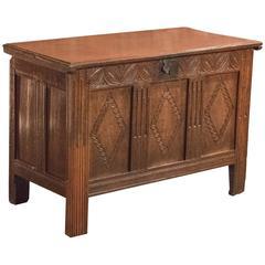 17th Century Oak Panelled Antique Coffer