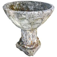 Lichened French Stone Gothic Planter or Font