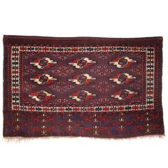 Antique Yomut Turkmen 9 Gul Chuval with Superb Rich Color, circa 1870