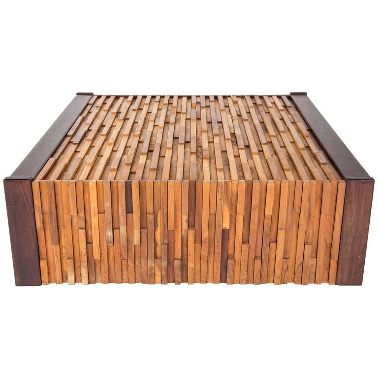 PERCIFAL LAFER mixed tropical wood coffee table, Brazilian brutalist style