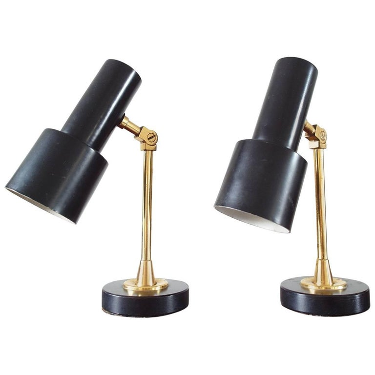 Pair of Original Brass and Black Stilnovo Table Lamps, Italy, 1950s